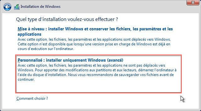 Réinstaller l'OS Windows