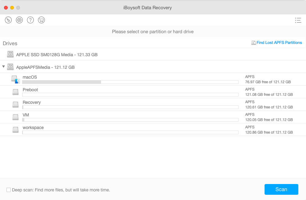 Recover lost data from APFS partition with iBoysoft Data Recovery for Mac
