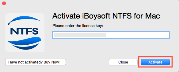 Activate iBoysoft NTFS for Mac with License