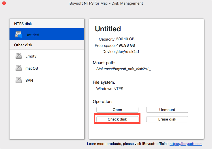 Check an NTFS Disk with iBoysoft NTFS for Mac