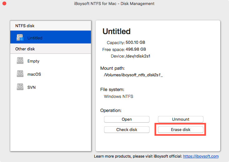 Erase an NTFS Disk with iBoysoft NTFS for Mac