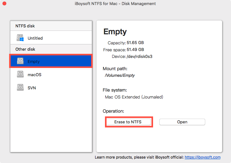 Erase a Disk to NTFS with iBoysoft NTFS for Mac