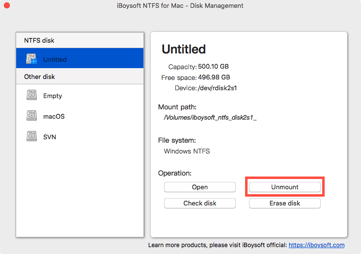 Unmount an NTFS Disk with iBoysoft NTFS for Mac