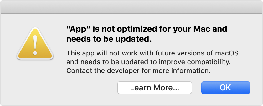 32-bit Apps won't work in macOS Catalina