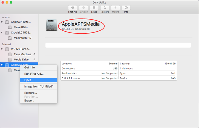 Apple APFS Media shows uninitialized in Disk Utility
