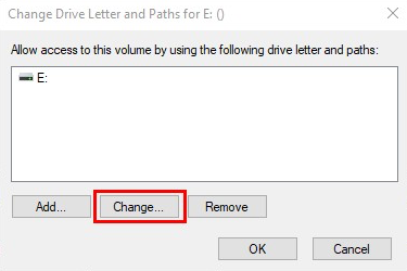 Change the drive letter and paths