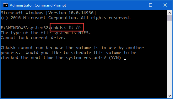 Run CHKDSK to fix the external hard drive detected but not accessible/opening issue