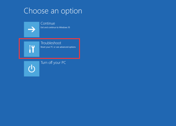 choose Troubleshoot in choose an option