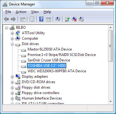 Toshiba external HDD in Device Manager