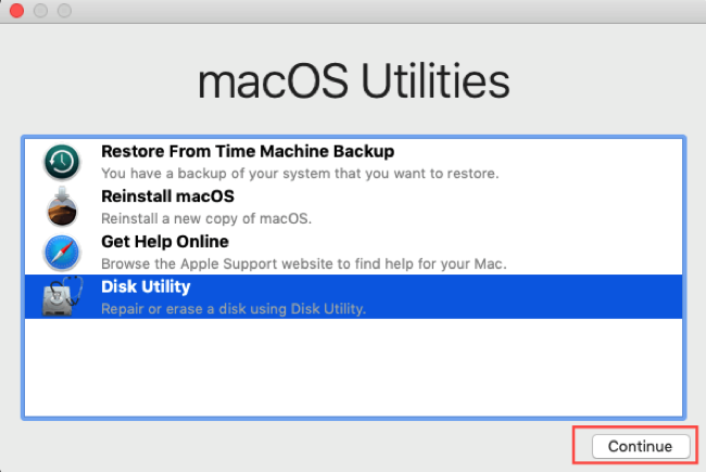 Run Disk Utility in Recovery Mode