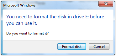 Drive not formatted