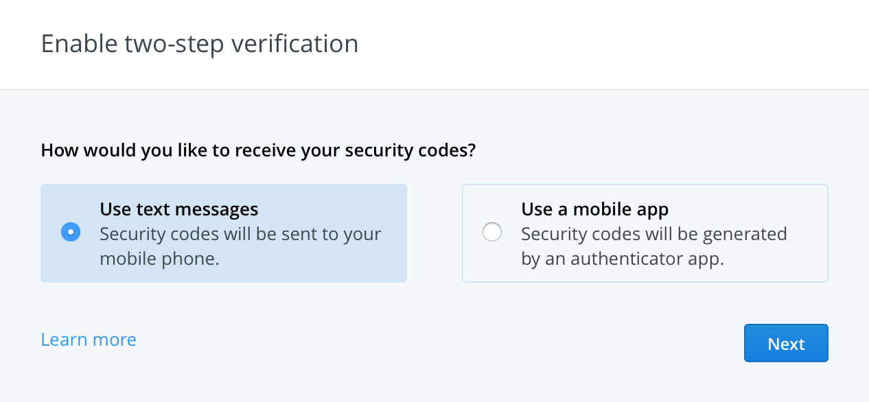 Enable Dropbox Two-step Verification
