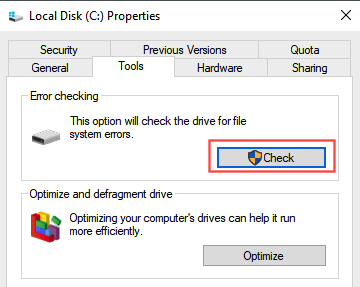 Check your hard drive for errors