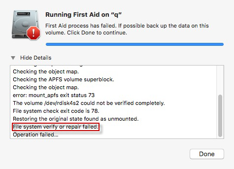 File System Verify Or Repair Failed On External Hard Drive