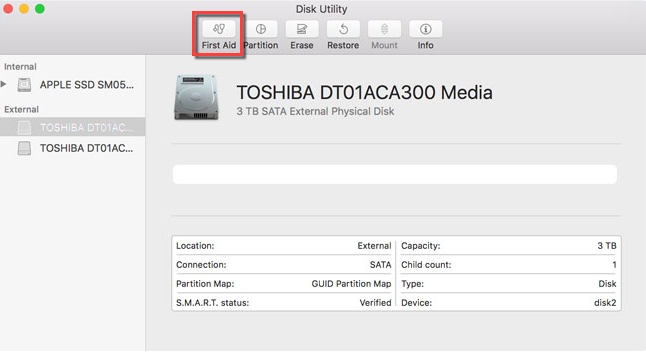 First Aid on Toshiba external hard drive