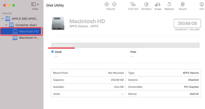 Fix Macintosh HD not mounted in Disk Utility