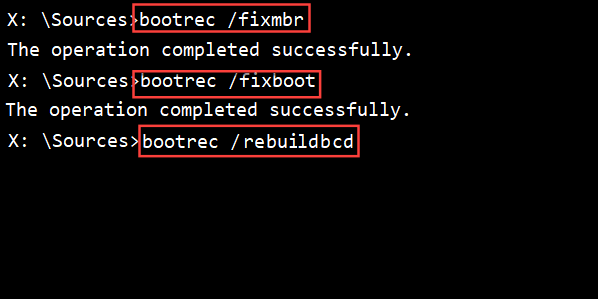 Fix the MBR with the bootrec command prompt