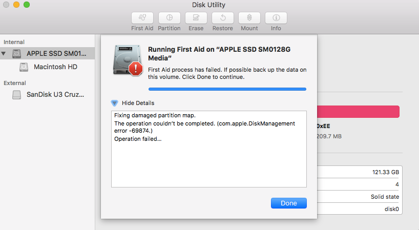 Fixing damaged/corrupted partition map error in Disk Utility