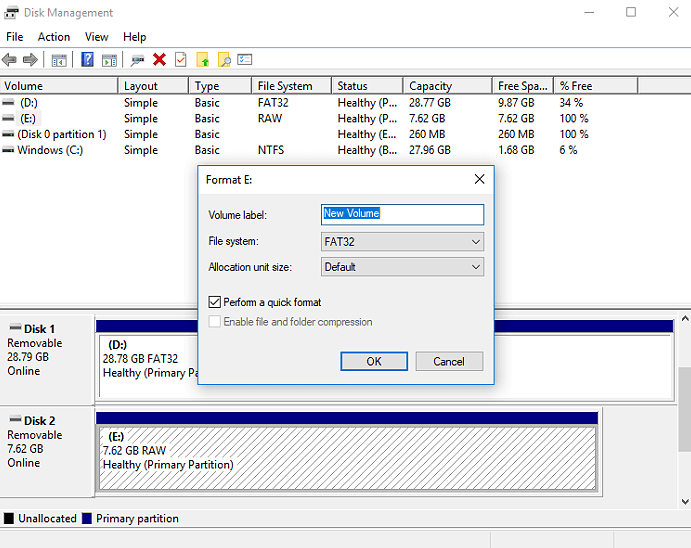 Format external hard drive in Disk Management