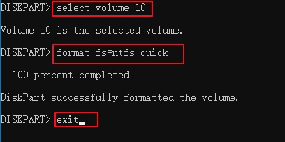 Format the volume to NTFS with cmd