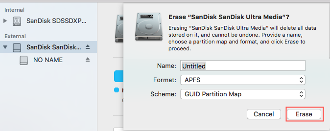 Format SD card to APFS in Disk Utility