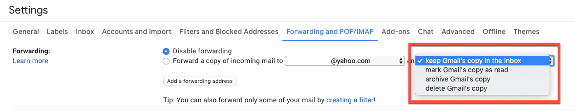 check Gmail forwarding settings