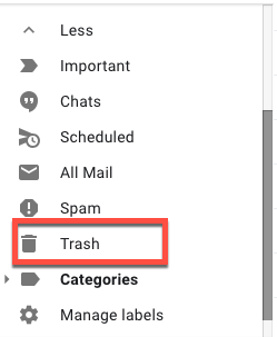 Recover deleted emails from Gmail Trash folder