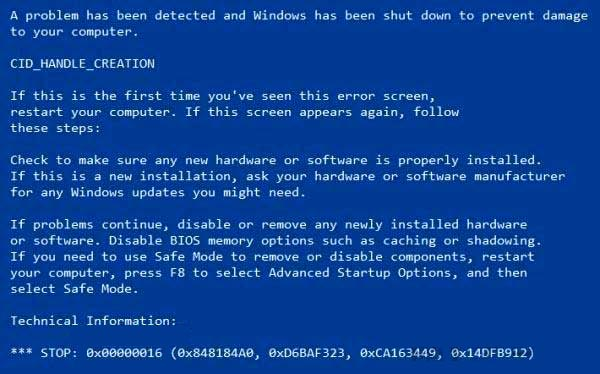initializing blue screen