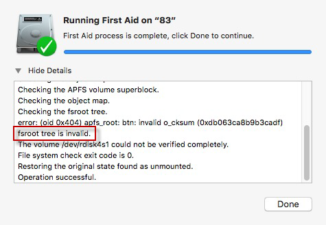 Fsroot Tree Is Invalid