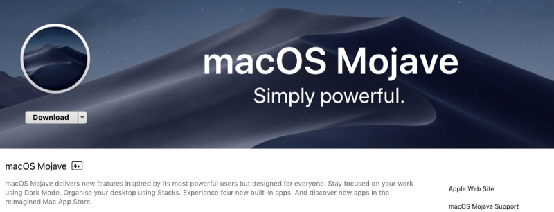 macOS Mojave update is available