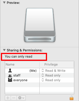 The Sharing & Permissions shows disk as you can only read