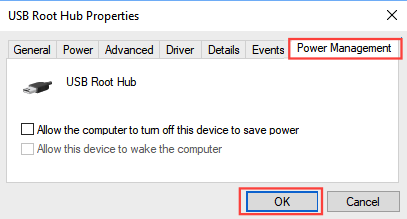 USB external hard disk power management on Windows