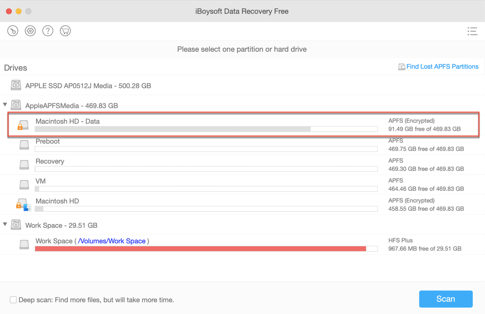 Recover lost data from failed APFS system volume