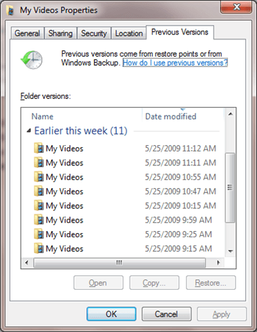 recover deleted files to previous versions