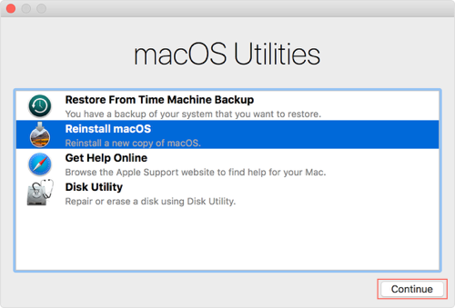 Reinstall macOS in Recovery Mode