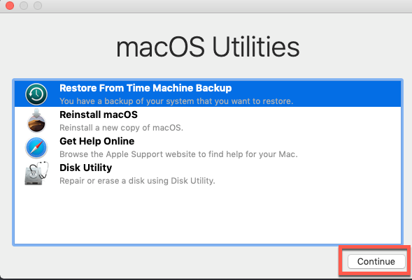 Restore Mac OS from Time Machine backups