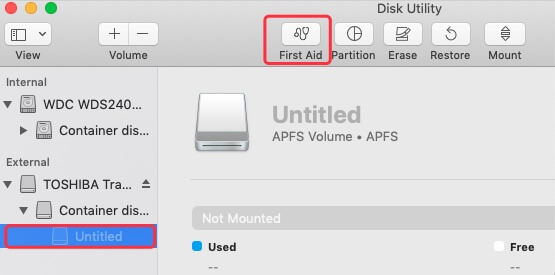Run First Aid feature to fix unmountable drives