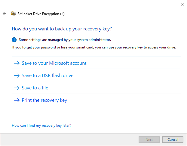 Save BitLocker Recovery Key
