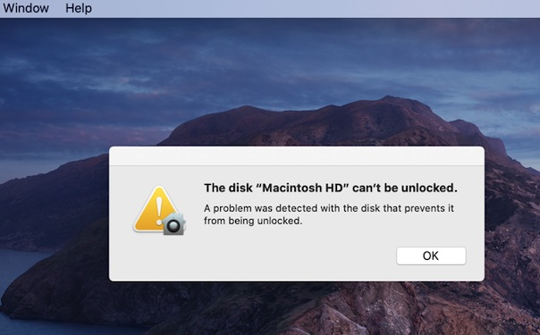 Fix 'The disk Macintosh HD can't be unlocked