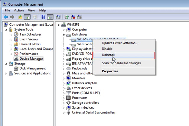 update and uninstall disk driver of external hard drive in Dsik Management