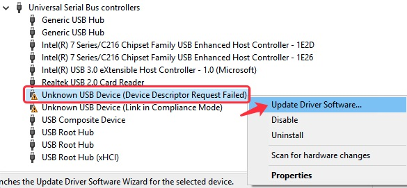 Right-click the USB device to update driver software