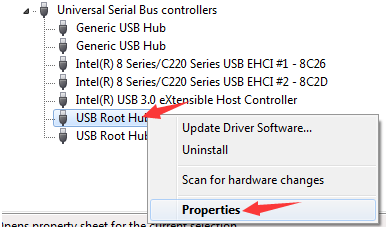 Right-clcik USB Root Hub and select Properties