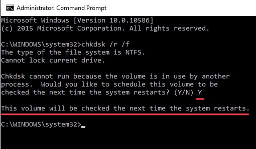 Chkdsk cannot run because the volume is in use