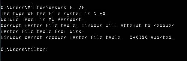 Corrupt master file table. Windows cannot recover master file table.