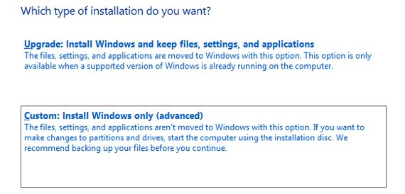 windows install upgrade or custom